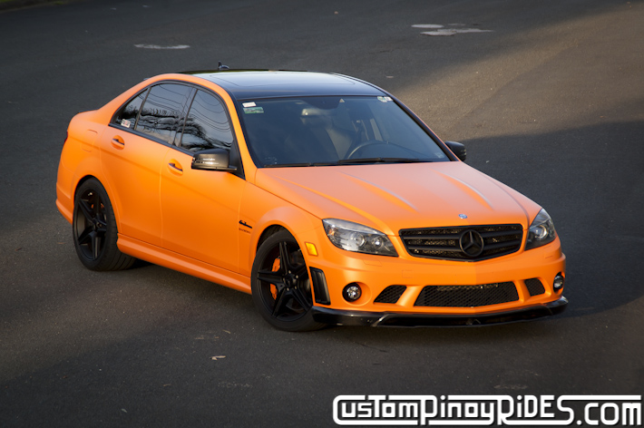 Orange mercedes benz