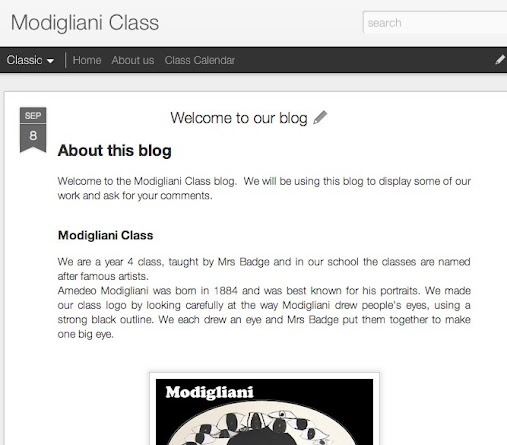 screenshot of class blog