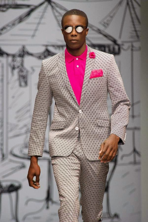 A model presents a creation from the Fabiani fashion house during Cape Town Fashion Week in Cape Town on July 26, 2014.
