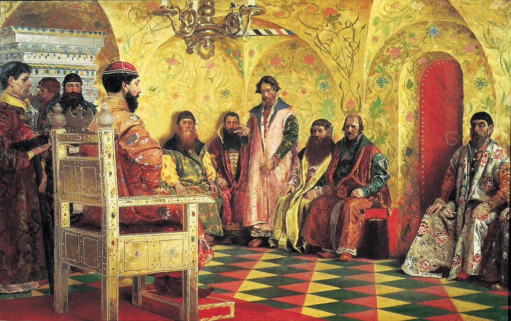 Andrei Ryabushkin - Session of Tsar Mikhail Feodorvich with his boyars in his State Chamber. 1893