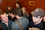 then we ALL cram in the small 30-rock elevator to our waiting limo-vans
