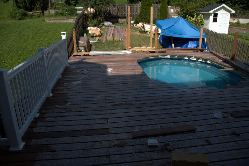 Decking continue, railing has started.