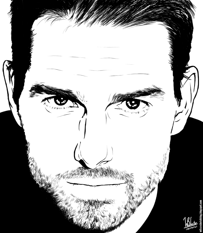 Ink drawing of Tom Cruise, using Krita 2.4.