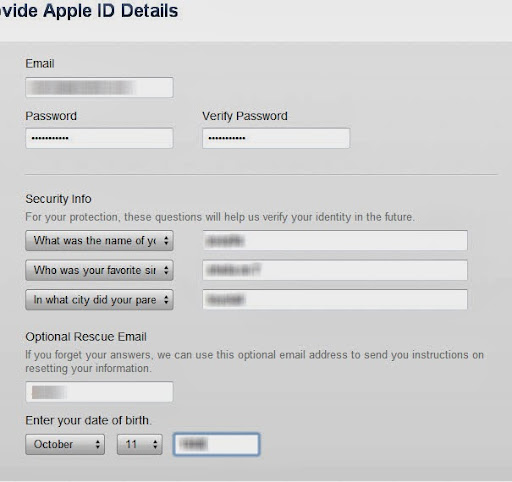 form apple id