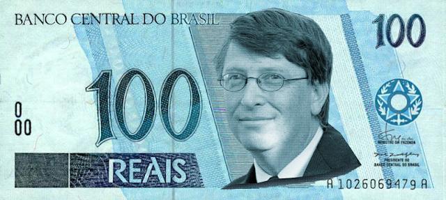 Cédula de Cem Reais com efígie de Bill Gates finalizada