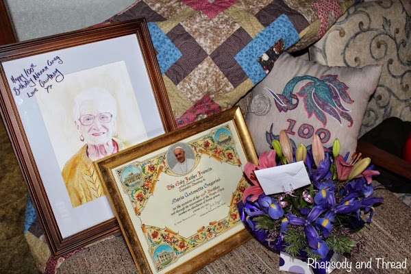 100th Birthday present 'montage' with a congratulatory plaque from the Pope!