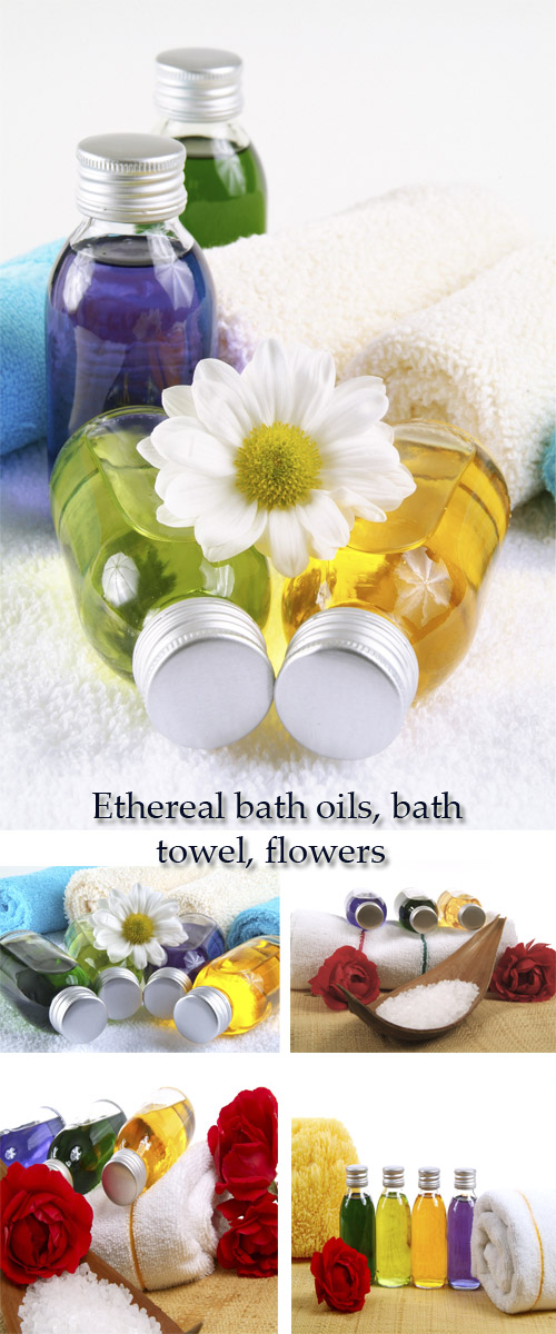 Stock Photo: Ethereal bath oils, bath towel, flowers