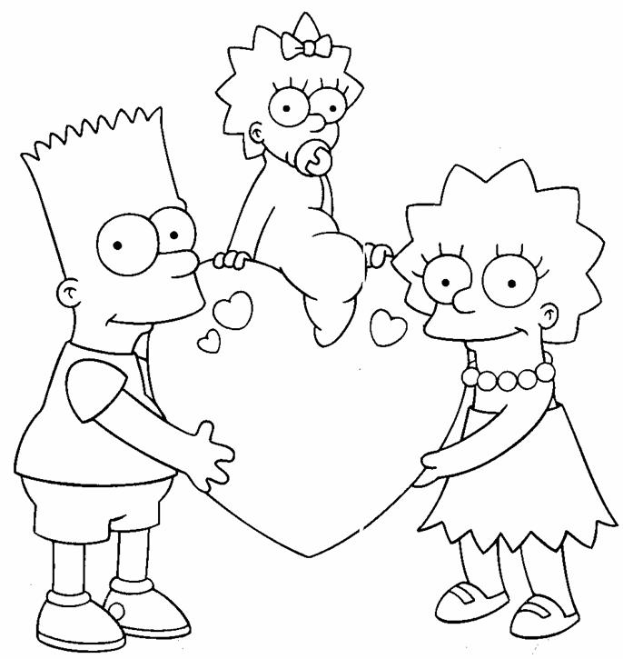 The simpson valentines day coloring pages