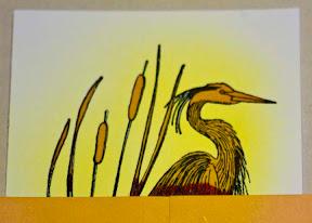 embossed heron