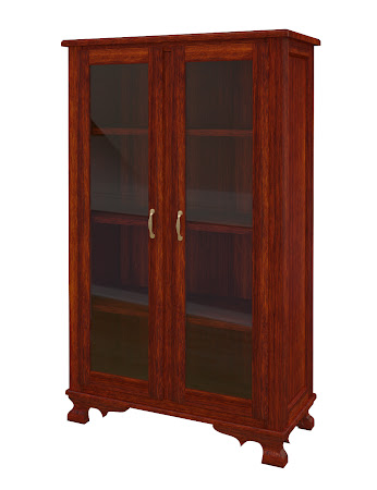 Prairie Glass Door Bookshelf in Sedona Cherry