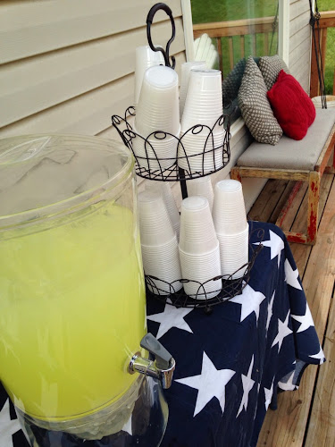 lemonade stand with American flag, Memorial Day, 4th of July, S'more party