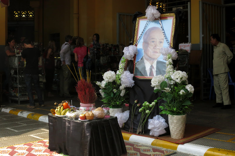 One of many memorial altars for former King Sihanouk