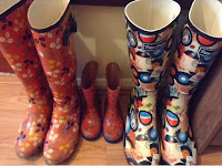Lined up family wellies