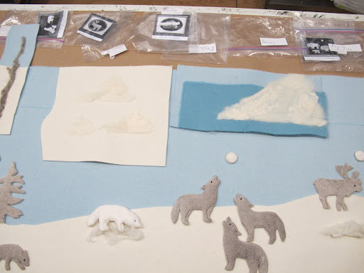 To create the final icebergs, I did needle felting, and here are some samples I did to show how it would look.