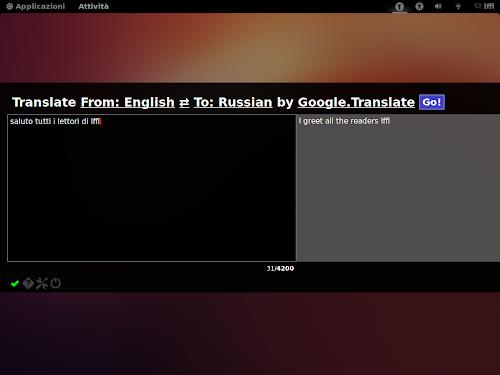 Text Translator su Gnome Shell