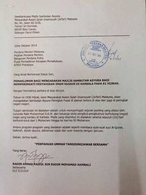 Penganut Syiah Hantar Surat Kepada PM