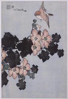 "Hibiscus et moineau, Série ""grandes fleurs""  Hokusai Katsushika"