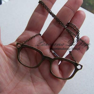 naszyjnik stare złoto antyczny okulary łańcuszek