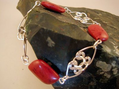 Red Jasper with Heart Links Bracelet by Entwined Vines
