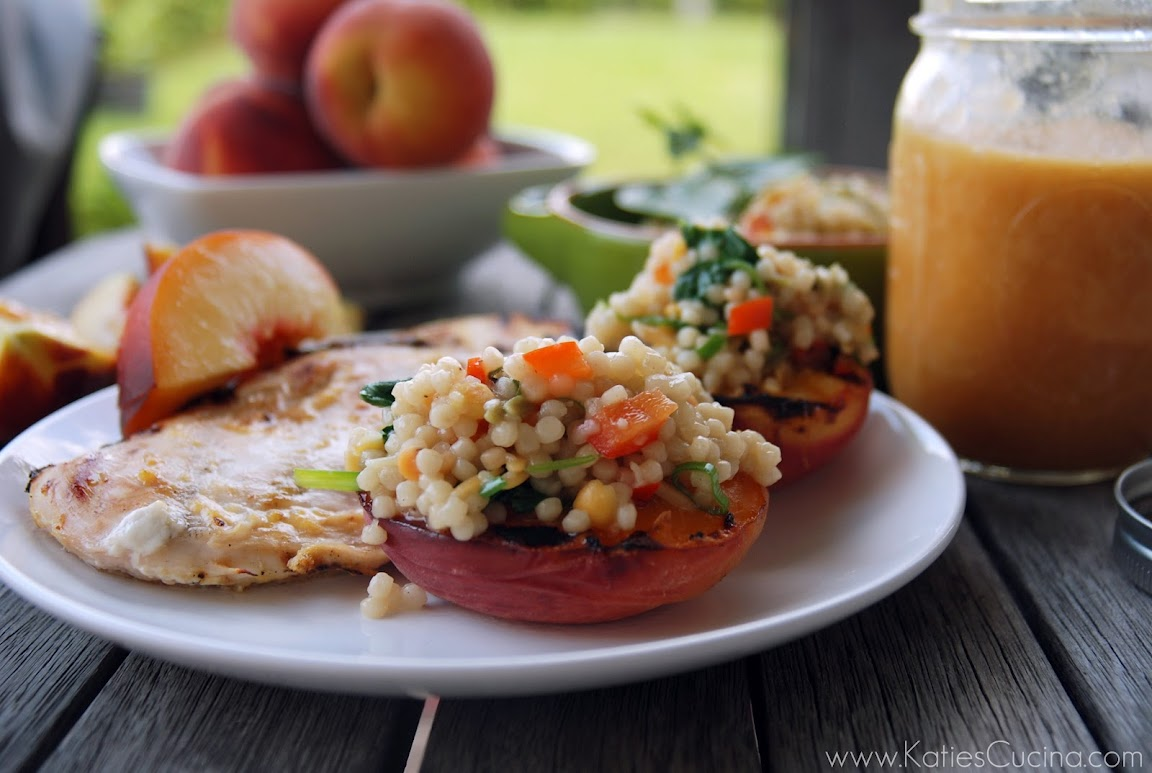 Israeli Couscous Stuffed Grilled Peaches
