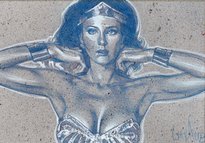 Lynda Carter as Wonder Woman(Pencil study) ACEO Sketch Card by Jeff Lafferty