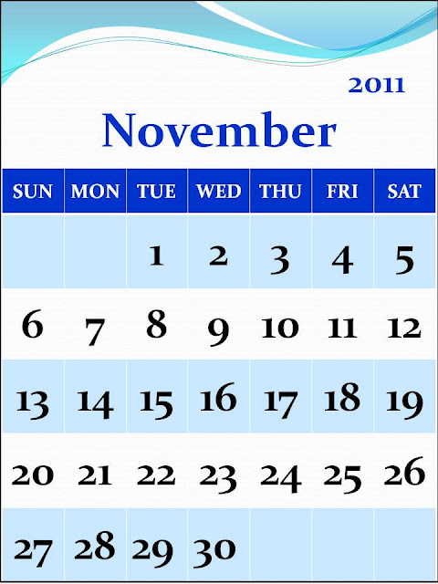 calendar of 2011. Calendar 2011 November