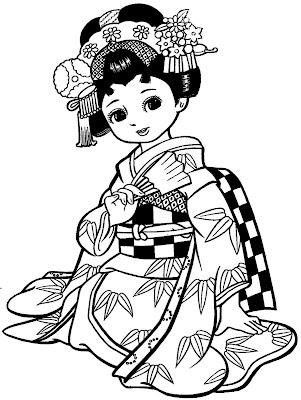 Menina Japonesa para Colorir
