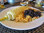Also had corn on the cob, Mexican rice and black beans