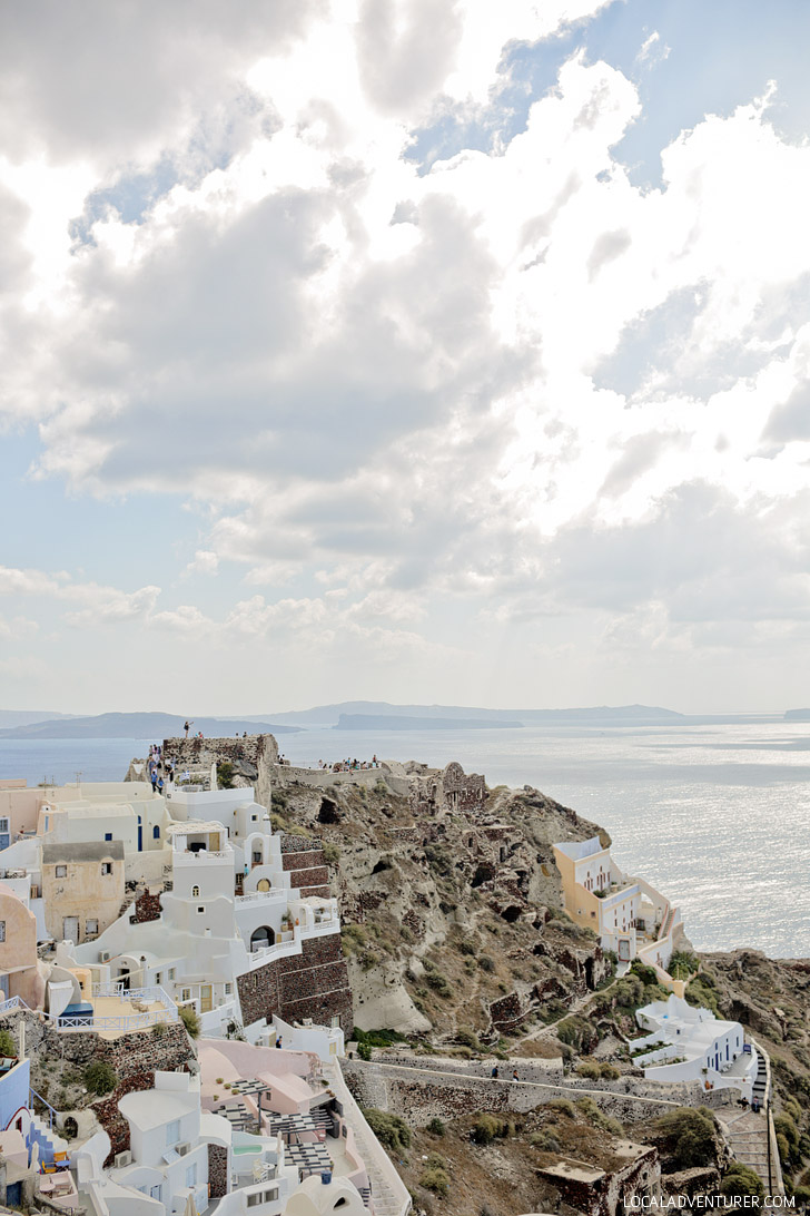 Oia Castle in Oia Santorini Greece.