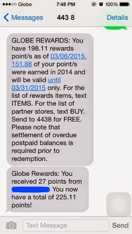 My Available Globe Rewards Points As Of March   Plus Additional  Points I Received From Xoce Last Night