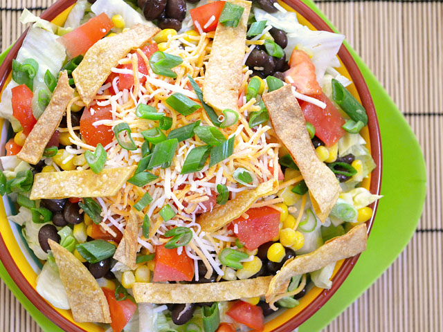 top view of finished taco salad in bowl