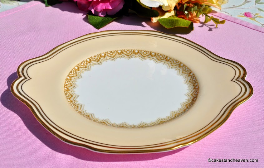 Paragon cream and gold vintage cake plate 1930s