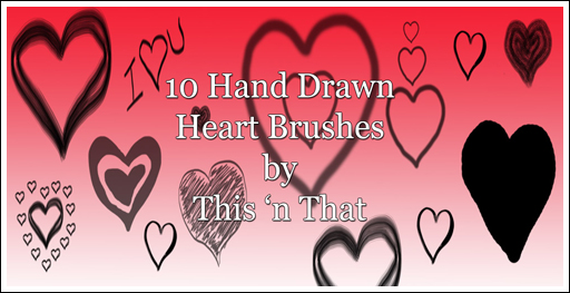 Hand Drawn Heart Brushes by DesiraeR