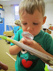 Child examines a plant stem using a magnifier.