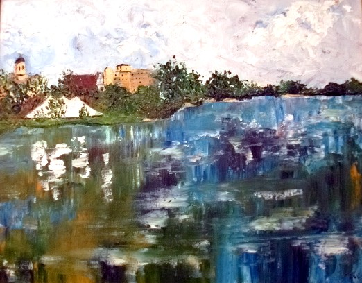 """""""Frontier Park"""" by artist Katherine Cuba. Acrylic. $325. Painted en plein air in St Charles, MO."""