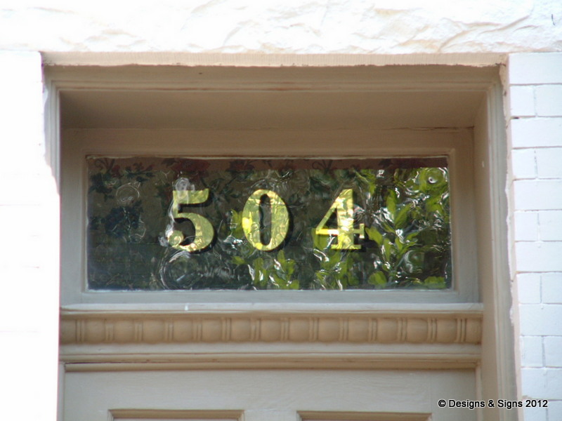 glass gilding - transom numbers 504