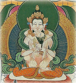 The male buddha Vairocana in union with the female buddha Akasadhatvisvari. Thangkas painted by Shawu Tsering and photographed by Jill Morley Smith are in the private collection of Gyurme Dorje.