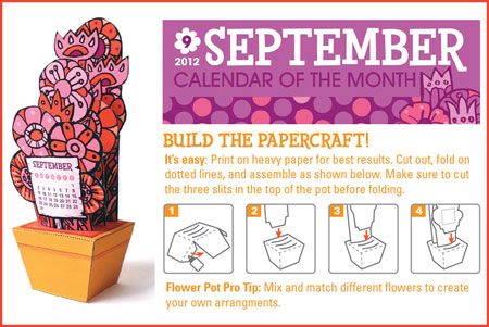 Flower Pot Papercraft Calendar September