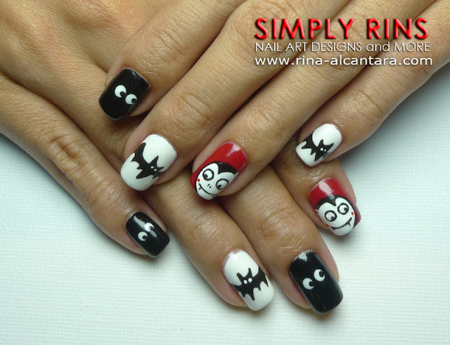 Cute Dracula Nail Art Design