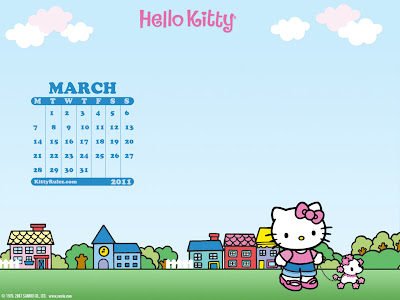 hello kitty 2011 february calendar