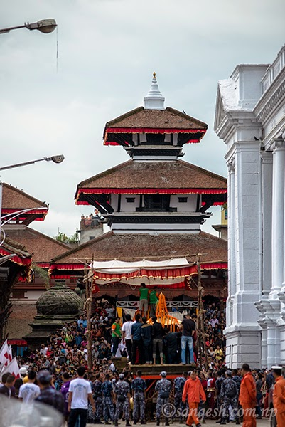 Chariot getting ready for the Indra Jatra festival