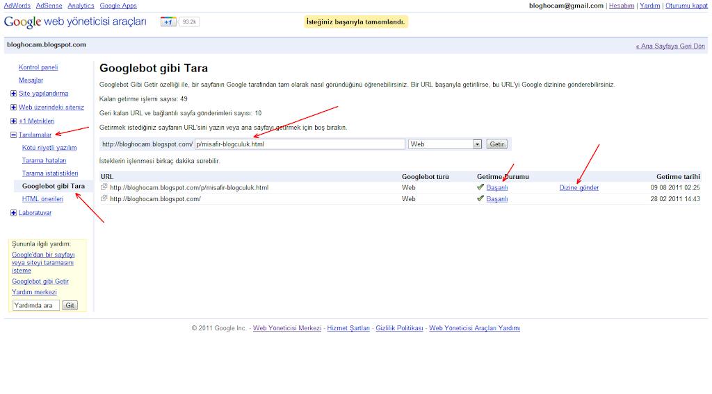 Google Sayfa İndeksletme