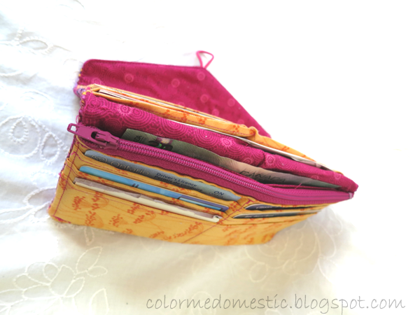 DIY fabric wallet 6 card slots, coin pocket, bill slot, receipt slot