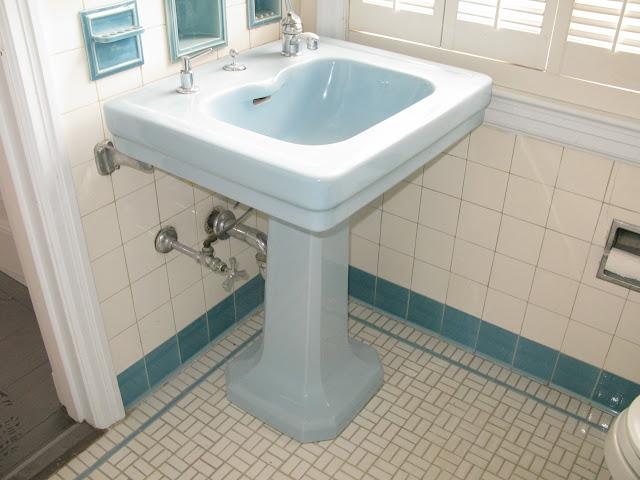 Lighting Basement Washroom Stairs: Blue Pedestal Sink With Integral Filler Spout