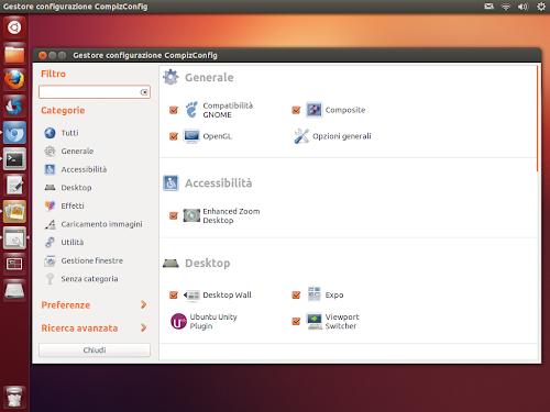 Ubuntu 12.10 Quantal: Ripristinare Unity e Compiz