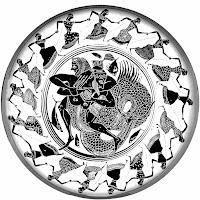 πάλη του Ηρακλή με τον Τρίτωνα,μαιάνδριος λαβή δάχτυλα,στεφανωμένη ζωγραφική,Fight of Hercules and Triton, Maiandrios grip fingers, wreathed painting