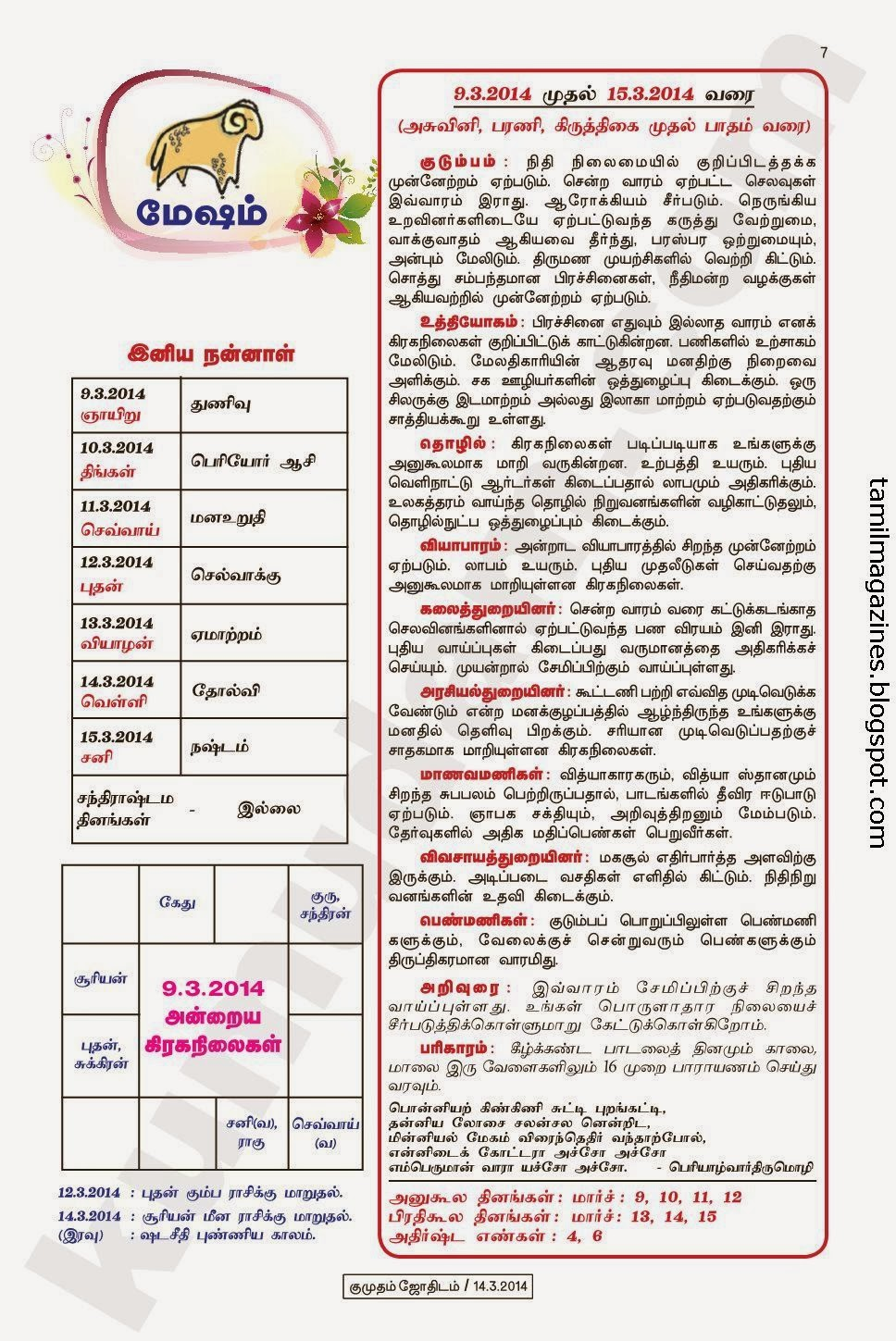 week 09 03 2014 to 15 03 2014 click on your rasi and zoom it for the