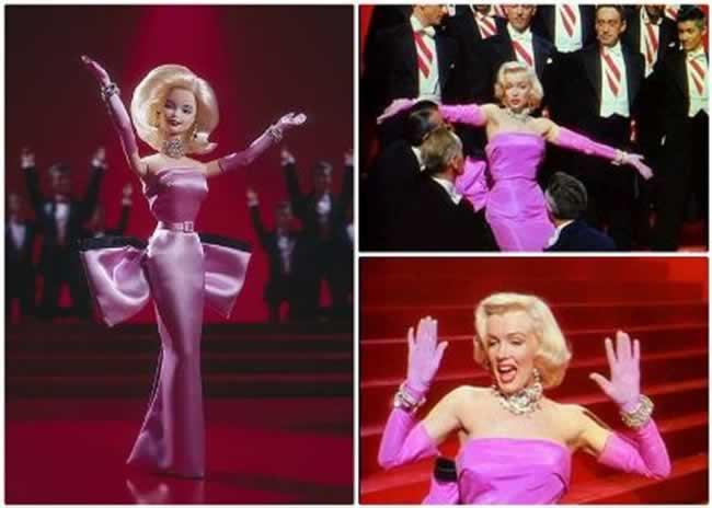 """Barbie y Marilyn Monroe en """"Los diamantes son los mejores amigos de una chica"""", de su película """"Los caballeros las prefieren rubias"""""""