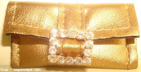 Barbie Silkstone Je ne sais quoi: clutch (bolso de mano) dorado con cierre de brillantes