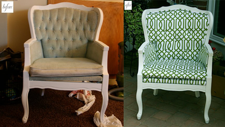 Customização de poltrona trocando o tecido antigo por um moderno